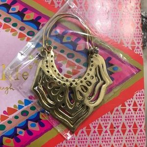 Boho Gold Brass Tribal Floral Earrings India